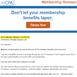 AICPA Number Renew Now Email
